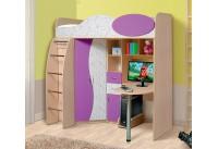 Кровать-чердак«Омега 9»(млечный дуб/фиолет/арт фиолет)